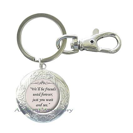 Amazon Com Charming Fashion Locket Keychain Quote Key Ring