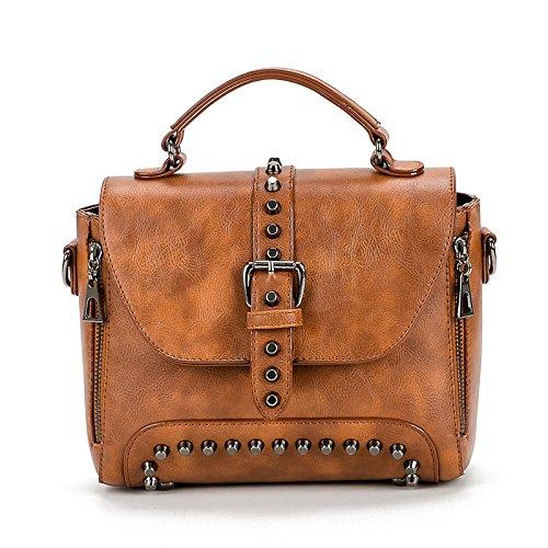 Vintage Bag à Main à Lady Sac Sac Brown Rivet Messenger Bandoulière Fashion nUxw8ZSq61