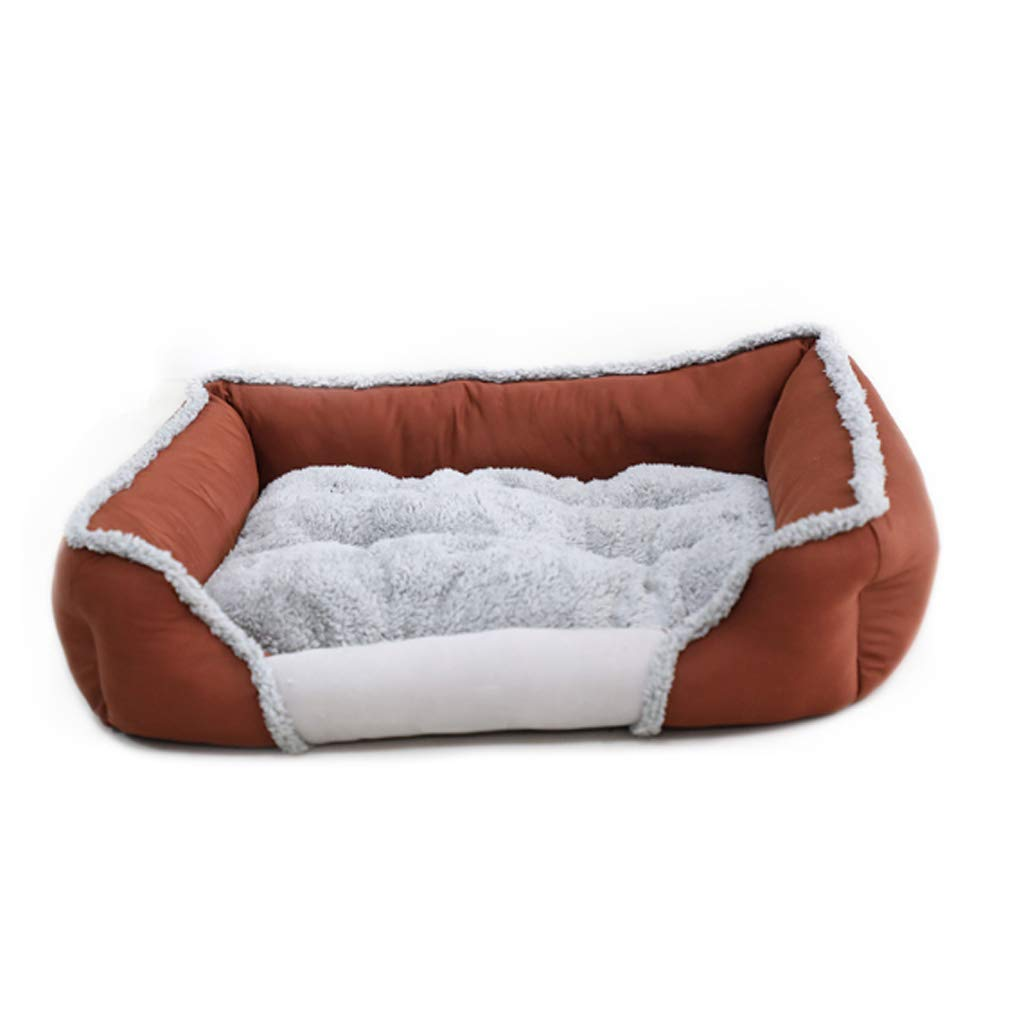 Grande Piazza Stit ng Pet Nest Four Seasons Universal Brown Rimable and Wasable DoubleSided with Small Medium Velvet Dog Cat Litter Villa calda Mat MUMUMUJIN (Dimensione: L)