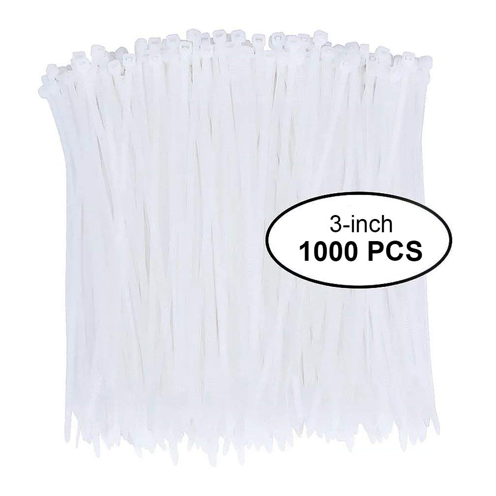 Nylon Zip Ties 1000pcs 3 Inch with Self Locking Cable Ties in White