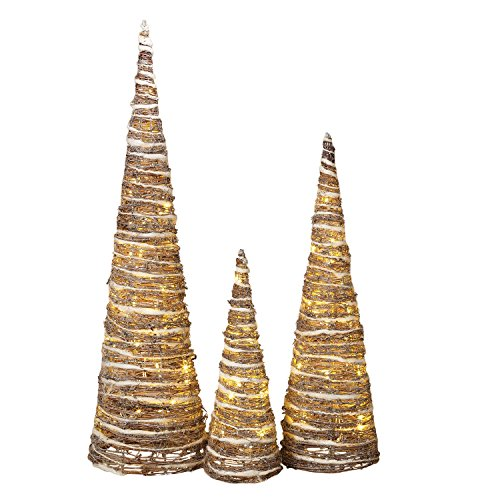 3 Assorted LED White-Washed Grapevine Pinecone Trees, Battery Operated