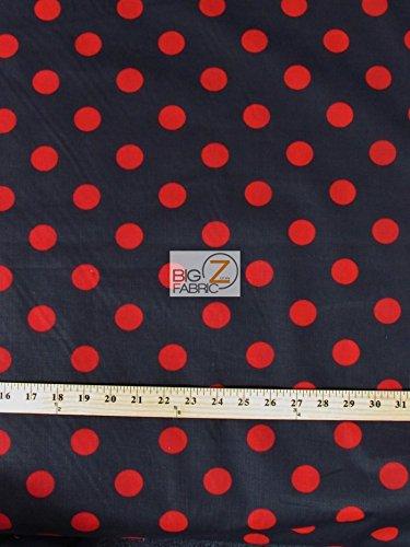 - BLACK/RED BIG POLKA DOTS PRINT POLY COTTON FABRIC 58