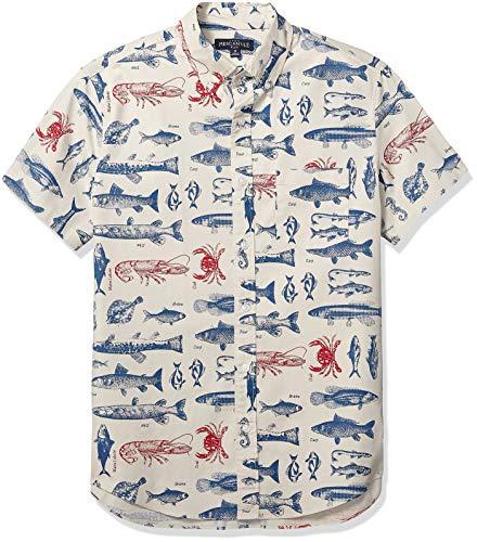 J.Crew Mercantile Men's Slim-Fit Short-Sleeve Stretch Printed Shirt, Bouillabaisse Navy Cerise, M