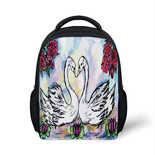 (Swan Stylish Backpack,Grunge Style Sketch Image of Lover White Swan Partners in Pond Lily Flowers Red Roses for School Travel,9.4