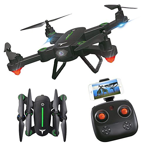 RC Drone,KINGBOT Foldable Flight Path FPV Wifi RC Quadcopter 2.4GHz 6-Axis Gyro Remote Control Drones With 2MP HD Camera Drone (2 Batteries Included) by KINGBOT