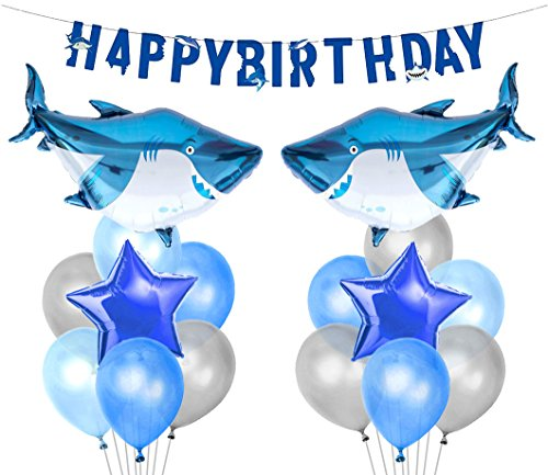 KREATWOW Shark Splash Party Decorations Shark Mylar Balloons Birthday Banner for Shark Birthday Party Supplies]()