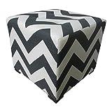 Sole Designs Chevron Stripe Design Merton Collection Black/White Button Tufted Upholstered Square Ottoman