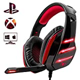 Beexcellent Gaming Headset PS4 Headset, Xbox One Deep Bass Headphones with Noise Canceling Microphone LED Lights, Compatible with PS4 Xbox One PC Mac