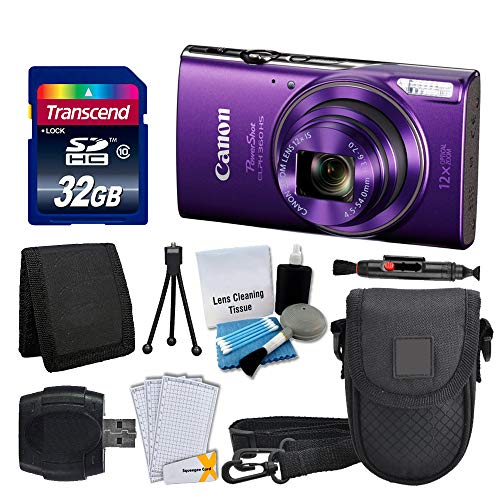 Canon PowerShot ELPH 360 HS Digital Camera (Purple) + Transcend 32GB Memory Card + Camera Case + USB Card Reader + LCD…