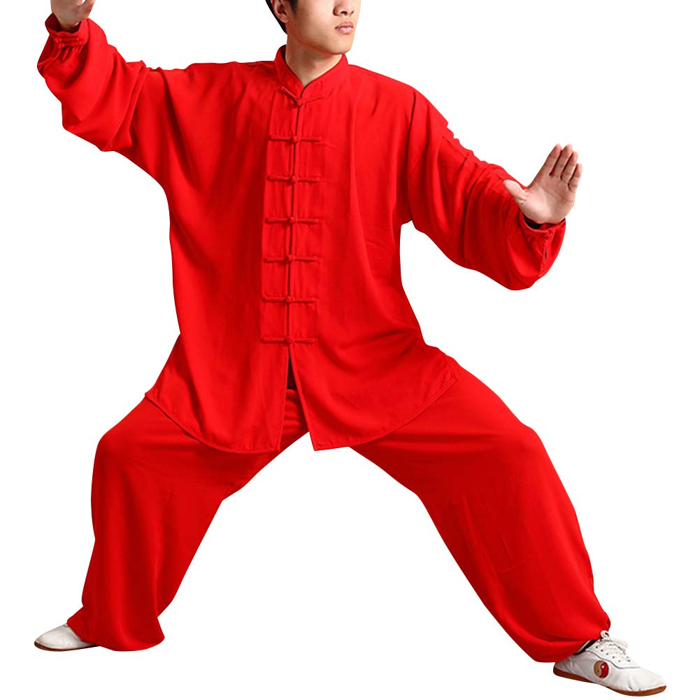 uirend Martial Arts Unisex Adult Sets Tai Chi Uniform Kung Fu Training Clothes Red by uirend