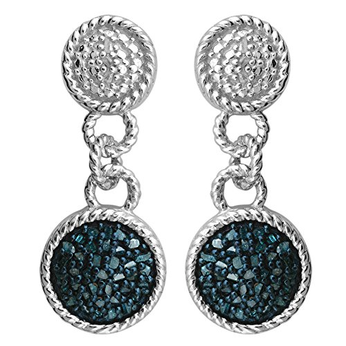 Sterling Silver1/2 ct TDW Blue Diamond Dangling Fashion Earrings