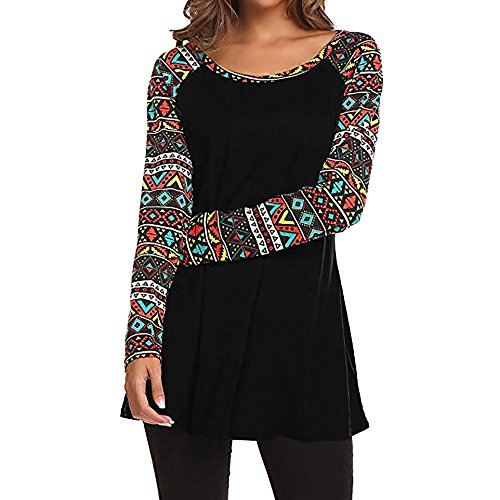 Ninasill Clearance!Long Sleeve Printed Patchwork Blouse Tops Clothes T Shirt ()