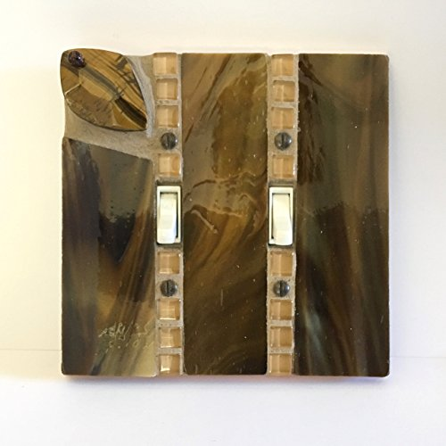 Brown Light Switch Cover, Tiger Eye Pendant, Stained Glass Switch Plate, Decorative Switchplate, 2 Gang Switch, Double Toggle, Woodtone 8941 (Switchplates Gang)