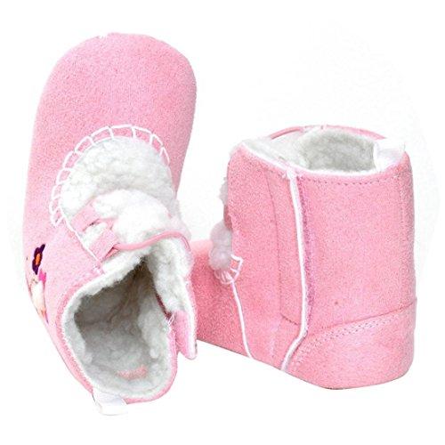 Hunpta Babyschuhe Mädchen Jungen Lauflernschuhe Baby Mädchen weichen Sohle Krippe warme Wohnungen Baumwolle Boot Prewalker Schuhe (2, Rosa) Rosa