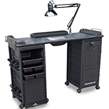 B607 VENTED Manicure Nail Table Double Locking Cabinets black Marble Laminated Top
