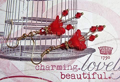Red Bell Lucite Flower Earrings