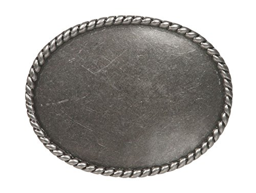 Western Plain Oval Hammered Vintage Belt Buckle, Antic Silver
