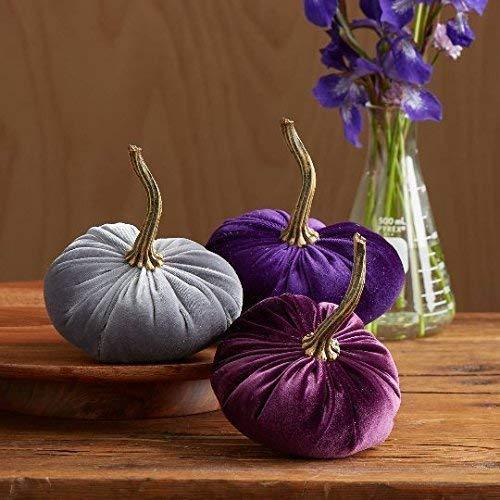 (Velvet Pumpkins, SET of 3: Plum, Purple and Gray; Home Decor, Holiday Mantle Decor, Centerpiece, Fall, Halloween,)