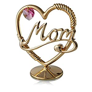 Matashi 24k Goldplated Mom in a Heart Table Top Ornament Made with Genuine Pink Crystals