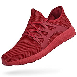 Feetmat Tennis Shoes for Men Non Slip Mesh Running Gym Shoes Lightweight Knitted Walking Athletic Shoesred 11.5
