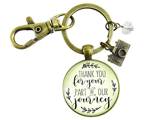 Wedding Photographer Gift Keychain Thank You For Your Part Rustic Pendant Camera Charm Keepsake Card