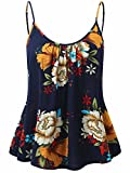 FENSACE Women's Sleeveless Nightgown Long Spaghetti Strap Basic Tank Tops(Navy,S)