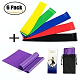 Hiltong Exercise Bands Resistance Elastic Bands for Exercise Therapy Fitness Equipment Set for Yoga,Pilates Training 6 Pack