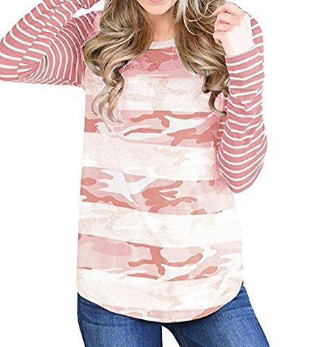 et Tops Jours Longues T Manches Casual Automne Shirt de Printemps Les Blouse Tee Raye Tous Pullover Fashion Rond Femme Col pissure Camouflage Rose Chemisiers Haut Cw0fxxq1d