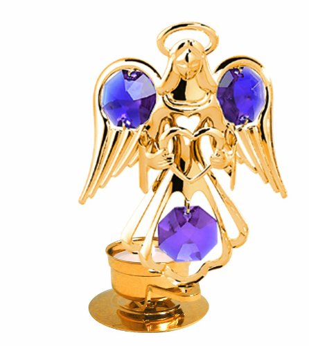 24K Gold Plated Angel Holding a Heart Tea-Light..... With Purple Swarovski Austrian Crystal