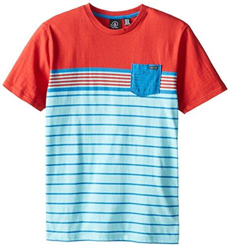 Volcom Big Boys' Skape Stripe Short Sleeve, Drip Red, Large