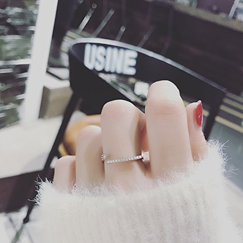 Fashion Personality Korean Zircon Diamond Ring Decorated Women Girls Influx People Opening Index Finger Ring trinkets (# 357,217 Micro-Drilling a Single Row of Silver