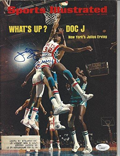 Julius Erving Dr J Signed NJ Nets Sports Illustrated SI COA - JSA Certified - Autographed NBA Magazines