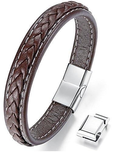 Ostan Mens Bracelet Fashion Men's Braided Leather Bracelet Bangle Magnetic Clasp