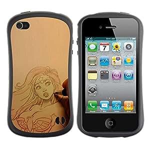 LASTONE PHONE CASE / Suave Silicona Caso Carcasa de Caucho Funda para Apple Iphone 4 / 4S / artist drawing sexy superhero woman