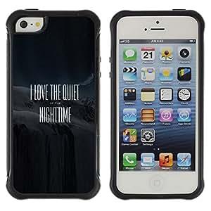 Híbridos estuche rígido plástico de protección con soporte para el Apple iPhone 5 / 5S - quote movie black text white