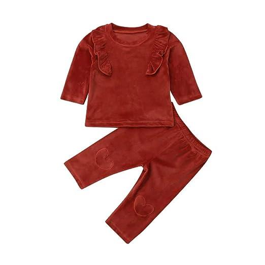 68896d556552 Amazon.com  Newborn Infant Baby Girl Long Sleeve Velvet Ruffled ...