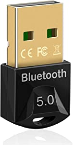 USB 5.0 Wireless Bluetoth Adapter for PC, Mini Low Energy USB Dongle Transmitter and Receiver for Laptop Bluetooth Headphones Headset Speakers Keyboard Mouse Printer Support Windows 10/8 / 7 / Linux