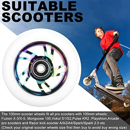 NONMON Roues de Trottinette avec Roulements,2Pcs Scooter Replacement Wheels 100mm Duret/é 88A et 8Pcs Bearings 608RS ABEC 9,pour Trottinette Freestyle Classique,Pro Scooters,Kick Scooters