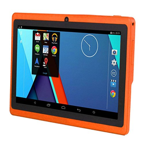 Hometom Tablet PC, 7'' Tablet Android 4.4 Quad Core HD 1080x720, Dual Camera Blue-Tooth Wi-Fi, 8GB 3D Game Supported (Orange) by Hometom (Image #2)