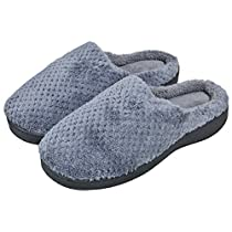 Woogwin Womens House Slippers Winter Warm Non-Slip Memory Foam Indoor Shoes