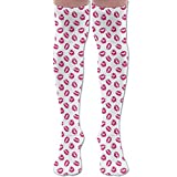 Women Vibrant Colored Lipstick Kiss Print Smooch Abstract Hot Pink Grungy Look Feminine Soft And Comfortable Socks