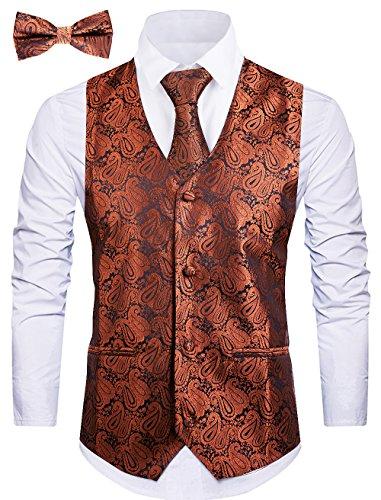t Vests Tuxedo Vest Vest for Men(M, Coffee 1) ()