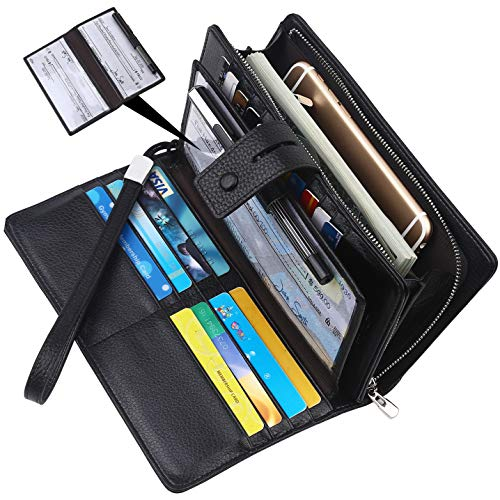 Lavemi Big Fat Rfid Blocking Leather Checkbook Credit Card Holder Wallets Clutch for Women with Wristlet -