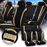 Automotive : FH GROUP Stylish Cloth Full Set Car Seat Covers Combo-FH2033 Steering Wheel & Seat Belt Pads, Beige / Black- Fit Most Car, Truck, Suv, or Van
