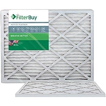 FilterBuy 24x30x1 MERV 13 Pleated AC Furnace Air Filter, (Pack of 2 Filters), 24x30x1 - Platinum