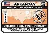 ARKANSAS Type II Zombie Hunting Permit Sticker Size: 4.95x2.95 Inch (12.5x7.5cm) Decal