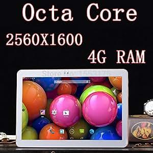 ARBUYSHOP Tablet PC 32GB 10.5 pulgadas 8 core tarjeta SIM Octa Núcleos 2560X1600 DDR RAM 4GB 8.0MP 3G dual WCDMA + GSM Tablets PCS Android4.4 7 8 9, blancos 64G Versión