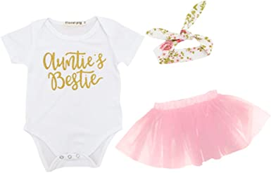 3PCS//Set Newborn Infant Baby Girls Outfits Clothes T-shirt Tops+Tutu Dress Skirt