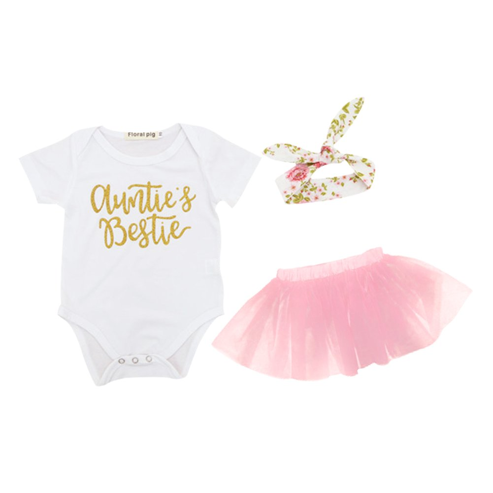 Rainbow Light Rainbowlight Baby Auntie's Bestie Romper Headband Tutu Skirt 3Pcs Romper Clothes