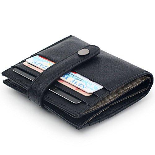 Purse Black Ladies Small Wallets - Women's RFID Blocking Small Compact Bifold Leather Pocket Credit Card Wallet Ladies Mini Purse (Black)